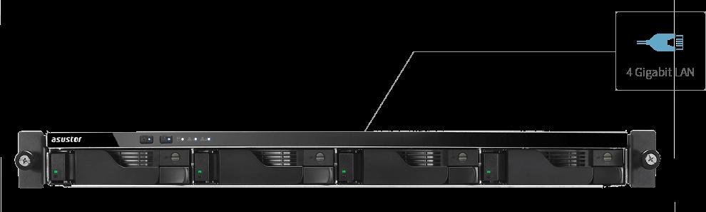 network attached storage 1u rack, 4-bay, asustor as6204rs + railkit 2
