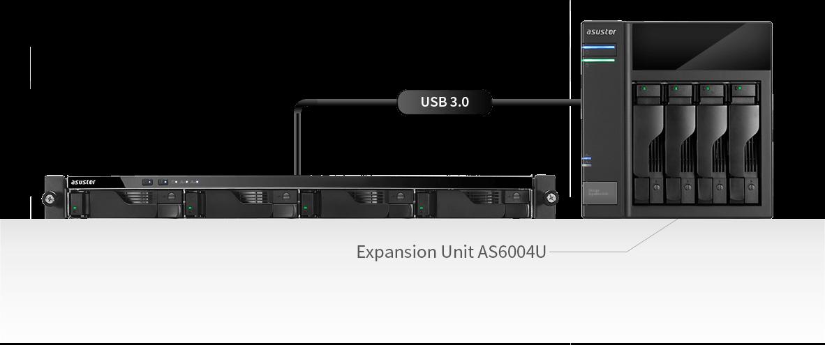network attached storage 1u rack, 4-bay, asustor as6204rs + railkit 5