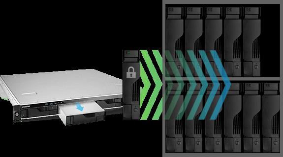 network attached storage 1u rack, 4-bay, asustor as6204rs + railkit 17